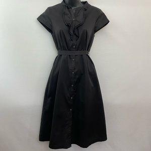 Merona Black Short Sleeve Midi Dress Size 4 Y-23